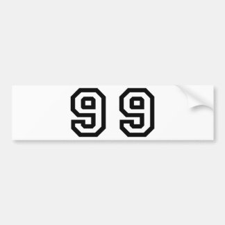 Number Ninety Nine Bumper Sticker