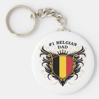 Number One Belgian Dad Basic Round Button Keychain