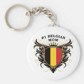 Number One Belgian Mom Basic Round Button Keychain