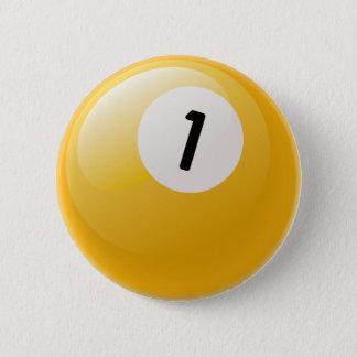 NUMBER ONE BILLIARDS BALL 2 INCH ROUND BUTTON