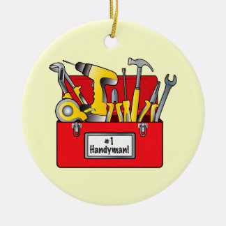 Number One Boss with Tool Box Ceramic Ornament