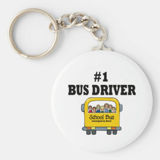 Number One Bus Driver Basic Round Button Keychain
