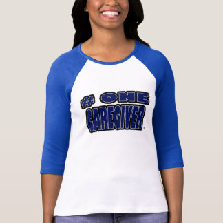 Number One Caregiver Blue Worded T-Shirts