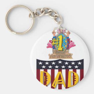 Number One Dad Basic Round Button Keychain