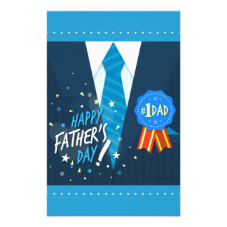Number one dad blue badge tie suit father's day customized stationery
