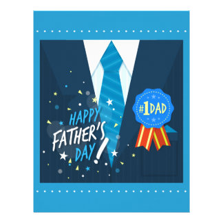Number one dad blue badge tie suit father's day letterhead
