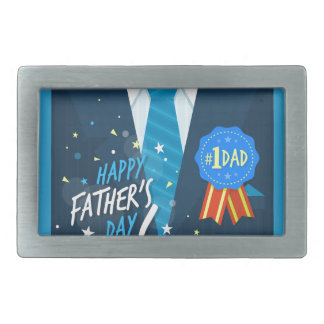 Number one dad blue badge tie suit father's day rectangular belt buckle