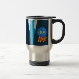 Number one dad blue badge tie suit father's day travel mug