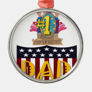 Number One Dad Metal Ornament