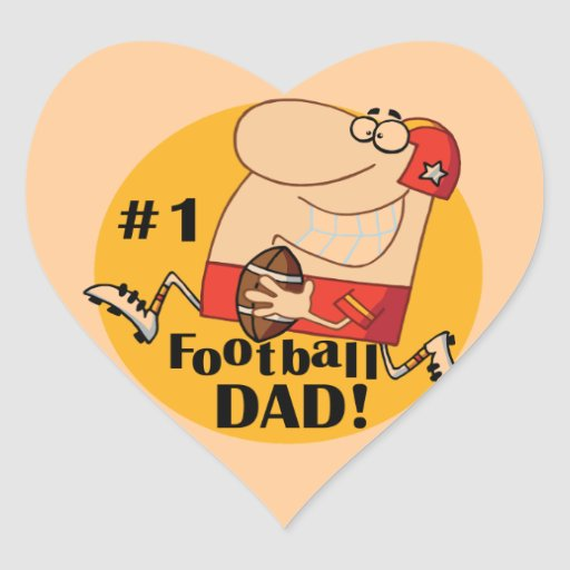 Number One Football Dad T-shirts and Gifts Heart Stickers