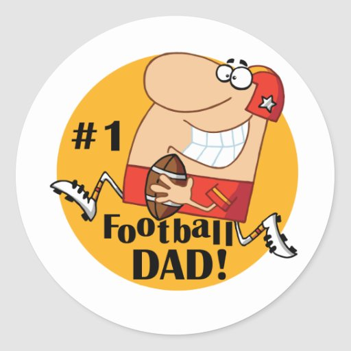 Number One Football Dad Tshirts and Gifts Round Sticker