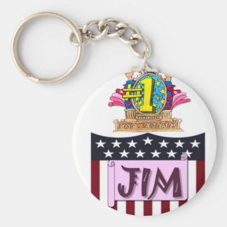 Number One Jim Basic Round Button Keychain