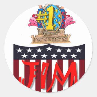 Number One jim Round Sticker