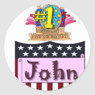 Number One John Classic Round Sticker