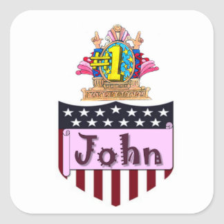 Number One John Square Sticker