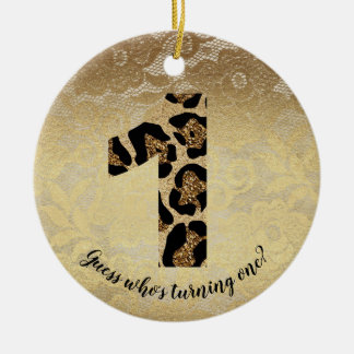 Number One Leopard Glitter Glam Birthday Ornament