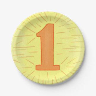 Number One Orange Yellow First Birthday Plates
