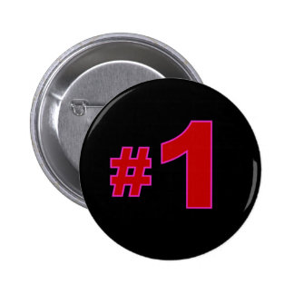 Number One Red 2 Inch Round Button