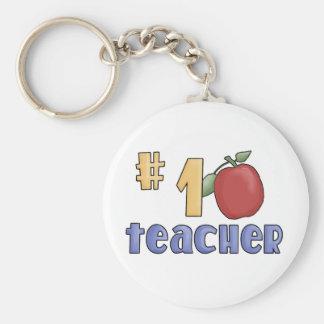 Number One Teacher Basic Round Button Keychain