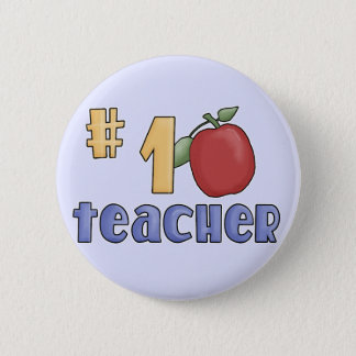 Number One Teacher Tshirts and Gifts 2 Inch Round Button