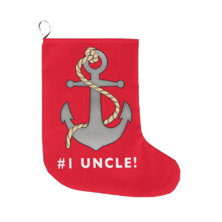 Number One Uncle Anchor with a Rope Large Christmas Stocking