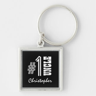 Number One UNCLE Black and White Modern Gift A01 Silver-Colored Square Keychain