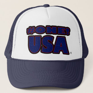 Number One USA Blue Red Worded Trucker Hat