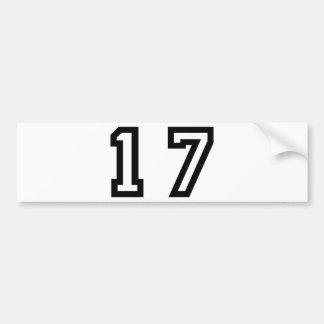 Number Seventeen Bumper Sticker