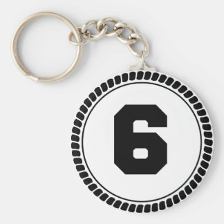 Number Six Circle Keychain