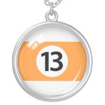 Number thirteen pool ball / billiards necklace
