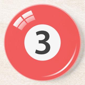 Number three pool ball sandstone coaster