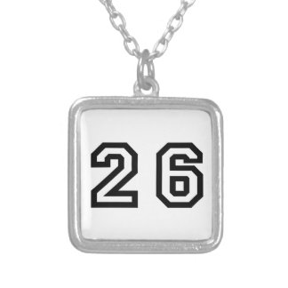 Number Twenty Six Silver Plated Necklace