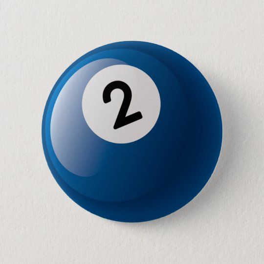 NUMBER TWO BILLIARDS BALL 2 INCH ROUND BUTTON