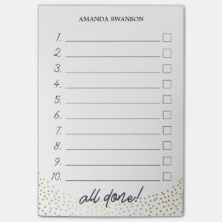 Numbered Checkbox To Do List Custom Name Post-it Notes