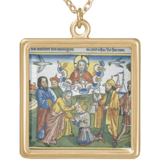 Numbers 27 18-23 Moses lays his hand upon Joshua, Gold Plated Necklace