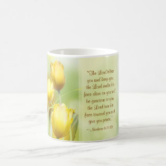 Numbers 6:24-26, Lord's Blessing, Yellow Tulips Coffee Mug