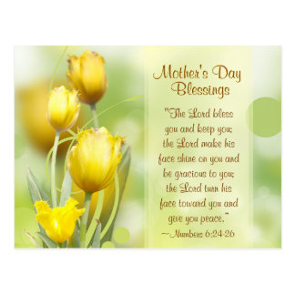 Numbers 6:24-26, Mother's Day Blessings, Tulips Postcard