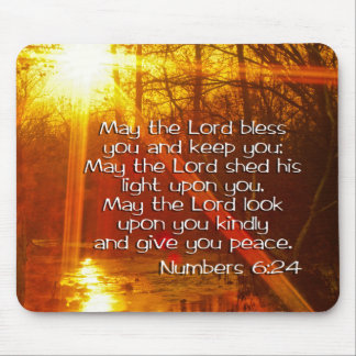 NUMBERS 6:24 BIBLE VERSE - MAY THE LORD BLESS YOU MOUSE PAD