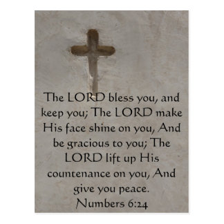 Numbers 6:24 UPLIFTING BIBLE VERSE with cross Postcard