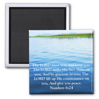 Numbers 6:24 UPLIFTING BIBLE VERSE with cross Square Magnet