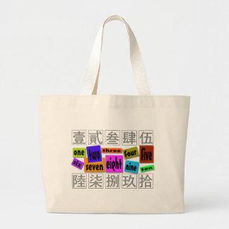 Numbers in words  large tote bag