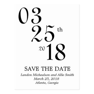 Numerical Save the Date Post Card