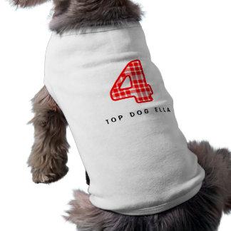 Numéro modelé par plaid rouge 4 quatre A15 Tee-shirt Pour Animal Domestique