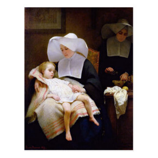 Nun caring for a sick child postcard