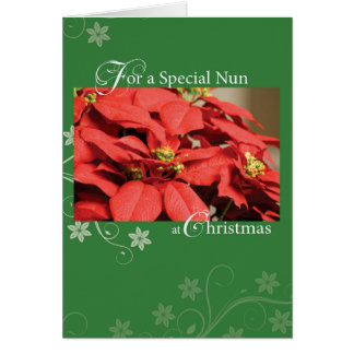 Nun, Christmas Poinsettia Card
