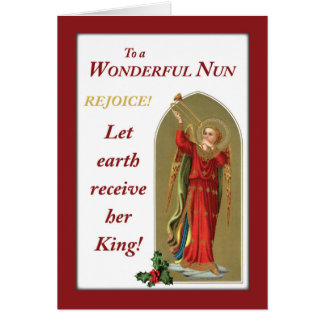 Nun Christmas Vintage Angel in Red Blowing Horn Card