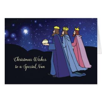 Nun Christmas Wishes Three Kings at Night Card