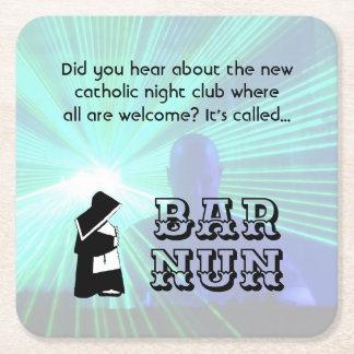 Nun Fun - clean humor, Catholic Night Club Joke Square Paper Coaster