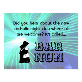 Nun Fun Pun, Catholic Night Club Joke Postcard