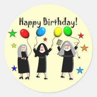 Nun Happy Birthday Cards & Gifts Classic Round Sticker
